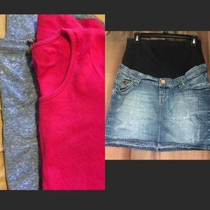 H & M Denim Skirt with shirts. Look a Bundle!